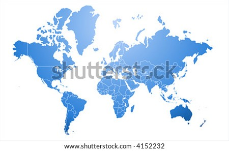 Extra detailed border map of the world - stock vector