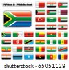 Extra glossy button flags. Big Africa & Middle East set. 36 Vector flags. Original size of South Africa flag included. - stock photo