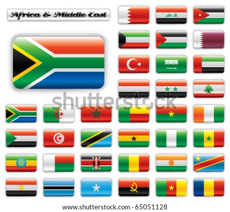 Extra glossy button flags. Big Africa & Middle East set. 36 Vector flags. Original size of South Africa flag included. - stock vector