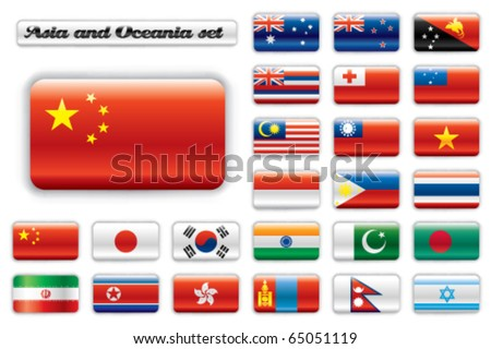 Extra glossy button flags. Big Asian & Oceania set. 24 Vector flags. Original size of China flag included. - stock vector