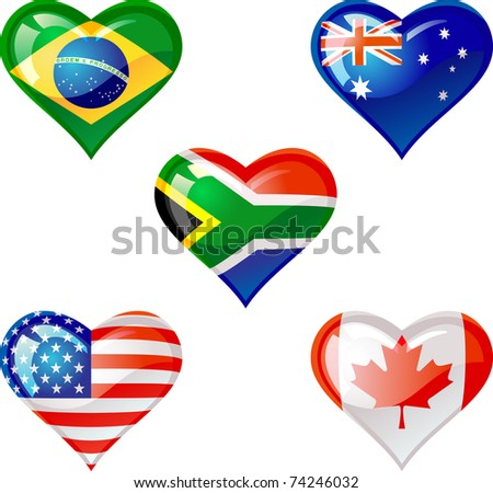 Extra glossy  Flag heart,are good for: icon, button, design, decoration, or as a symbol. - stock vector