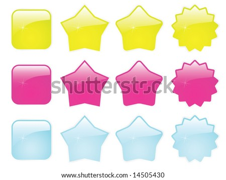 Extra glossy web badges and buttons vector template set - stock vector