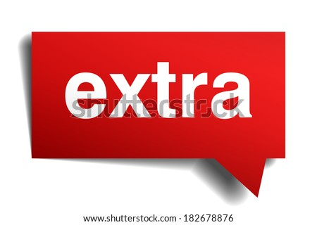 extra red 3d realistic paper speech bubble isolated on white - stock vector