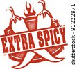 Extra Spicy Chili Pepper Stamp - stock vector