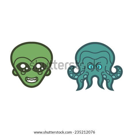 extraterrestrial alien and octopus Cthulhu  - vector for Halloween mask, cards, invitations, tattoo, icons or logos - stock vector