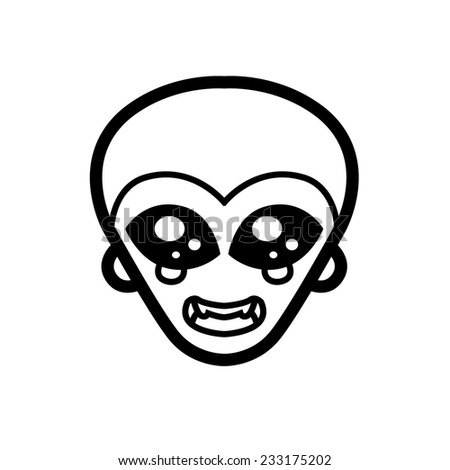 extraterrestrial alien icon big black eyes smile extraterrestrial intelligence design for logo vector mascot - stock vector