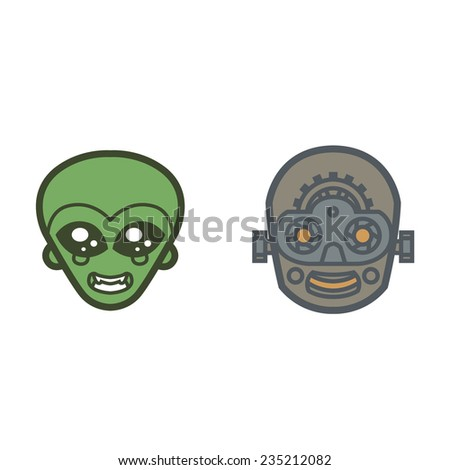 extraterrestrial and robot monsters cute eyes smile face  - vector for Halloween mask, cards, invitations, tattoo, icons or logos - stock vector