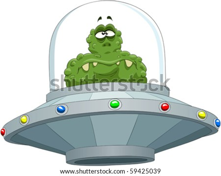 Extraterrestrial in a flying saucer - stock vector