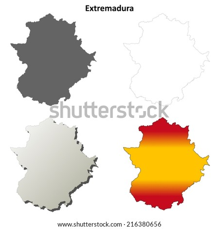 Extremadura blank detailed outline map set - vector version - stock vector
