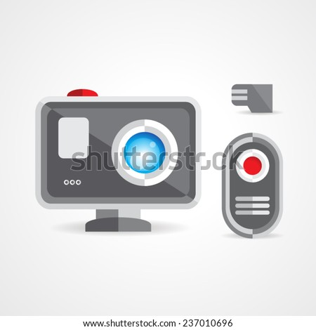 extreme action video digital camera - stock vector