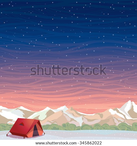 Extreme camping - red travel tent and snowy mountains on a night starry sky background. Winter landscape. Vector natural illustration.  - stock vector