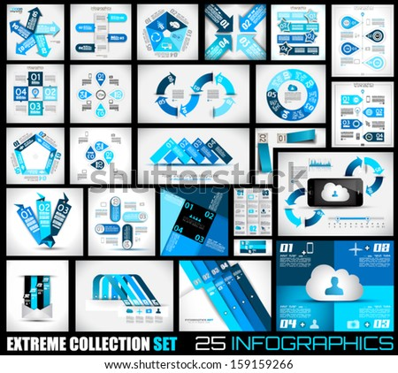 Extreme Collection of 25 quality Infographics background. A lot of different templates ready to display your data. - stock vector
