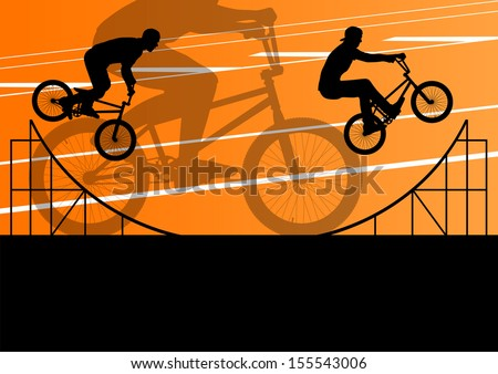 Extreme cyclist active sport silhouettes vector background illustration - stock vector