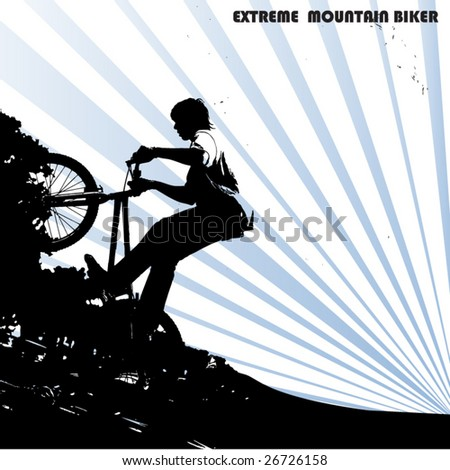 extreme mountain biker - stock vector