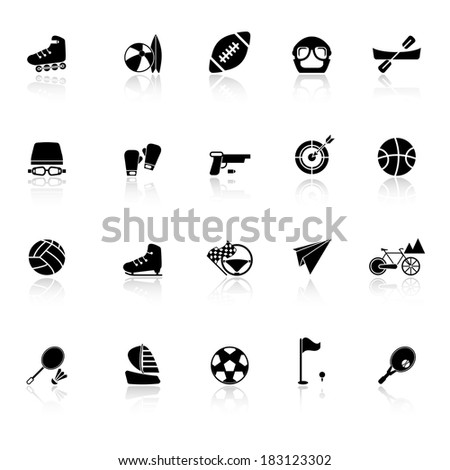 Extreme sport icons with reflect on white background, stock vector - stock vector