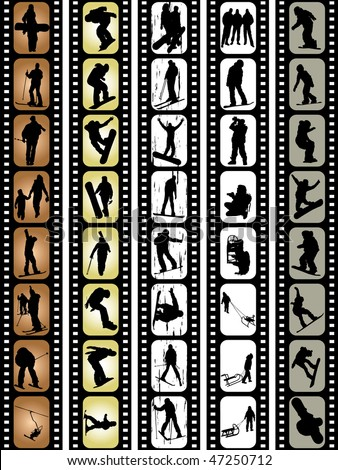 extreme sport silhouettes snowboarding skiing driving playing photographing in film tape - stock vector