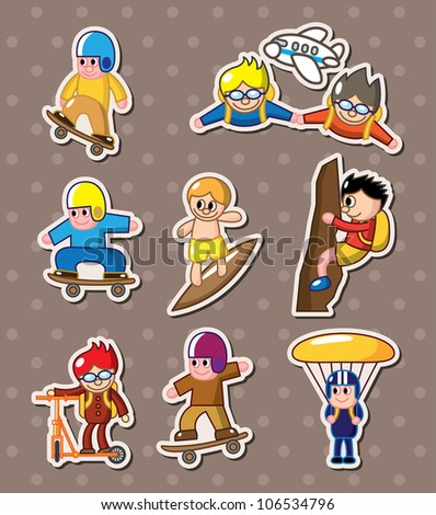 extreme sport stickers - stock vector