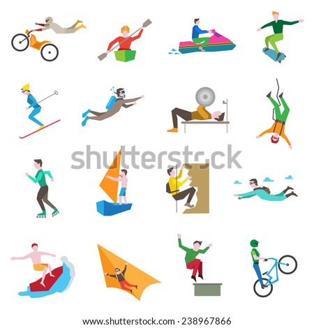 Extreme sports icons set with people kiting cycling sailing skiing isolated vector illustration - stock vector