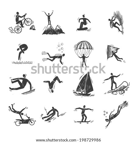 Extreme sports icons sketch of diving climbing sailing isolated doodle vector illustration - stock vector