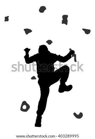 Rock Wall Climber Silhouette