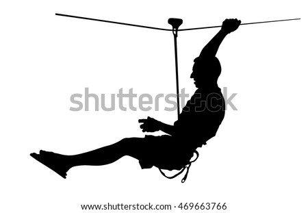 Extreme sportsman took down with rope. Man climbing vector silhouette illustration, isolated on the white background. Sport weekend action in adventure park rope ladder. Ropeway for fun, team building