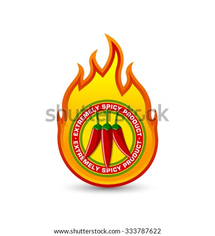 Extremely spicy product fire shaped badge with three red chilli peppers placed on white background - stock vector