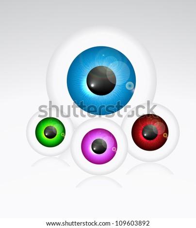 Eye ball set eps10 - stock vector