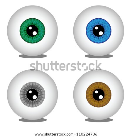 Eye balls in different colors, vector illustration - stock vector