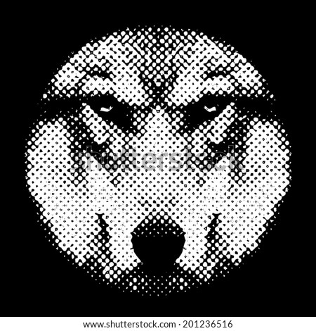 Eye contact with a terrible wolf through the lens. Menacing expression of the canis lupus, the most dangerous beast of the canids. Amazing black and white vector image. Horror of the forest owner,  - stock vector