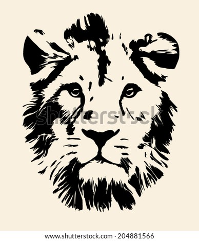 Eye contact with melancholy lion, isolated on sepia background. The King of beasts, the biggest and mightiest cat of the world, sad and calm looking straight into the camera. Vector monochrome image. - stock vector