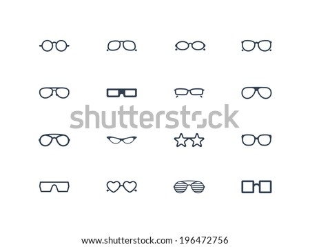 Eye glasses icons - stock vector