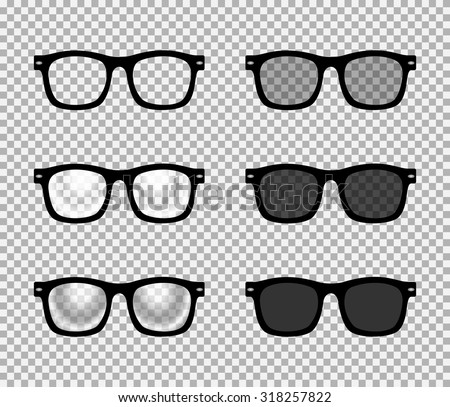 Eye glasses set : sunglasses and reading eyeglasses with black color frame and semi transparent lens in different shade. Classic wayfarer design. vector art image illustration, isolated on background - stock vector