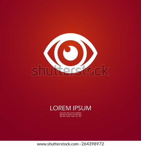 Eye icon on red  - stock vector