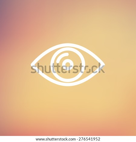 Eye icon thin line for web and mobile, modern minimalistic flat design. Vector white icon on gradient mesh background. - stock vector