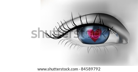 Eye Illustration with Heart - stock vector