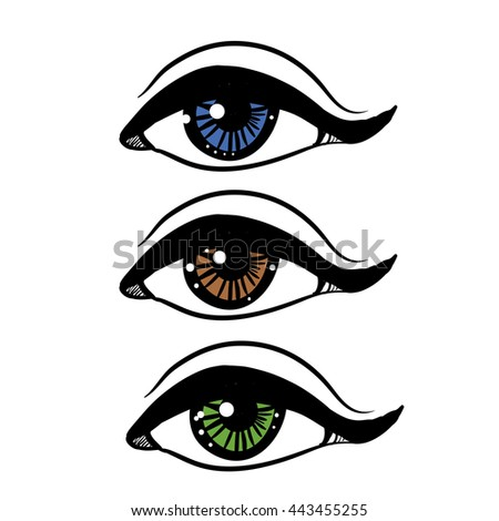 Eye Different Colors Vector Stock Illustration Stock Vector
