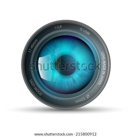 eye inside the camera lens - stock vector