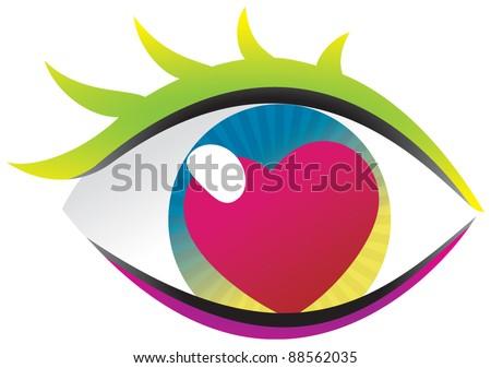 Eye + love - stock vector