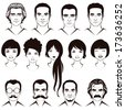 eye, mustache, lips and hair, face parts, head character, old and young people - stock