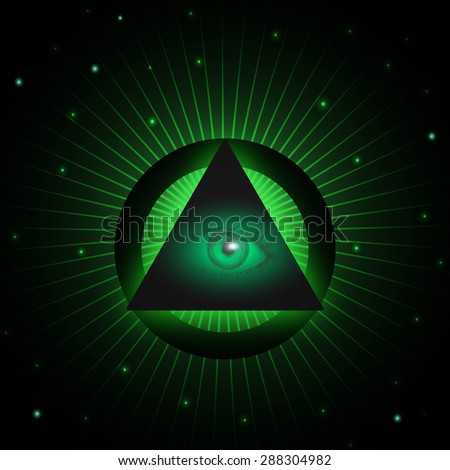 Eye of Providence and pyramid. All seeing eye symbol. Masonic eye in a pyramid. Vector illustration. Design element for music albums, posters, flyers, web design and mobile apps. - stock vector