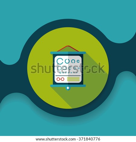 eye test chart flat icon with long shadow - stock vector
