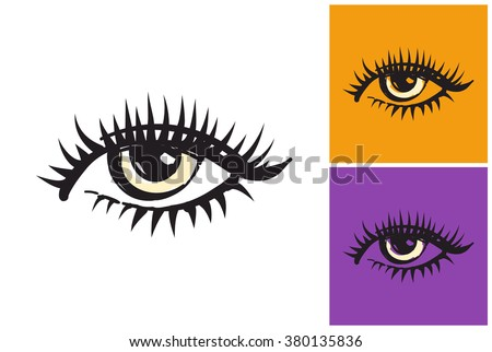 Eye vector sketch in fashion style on white, yellow and purple background.