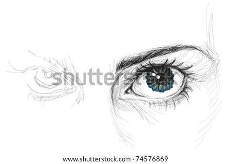 Eye with flower iris / realistic sketch (not auto-traced) - stock vector