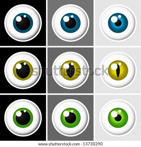 Eyeballs human and animal - vector - stock vector