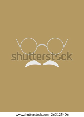 Eyeglasses and gray mustache symbol - stock vector