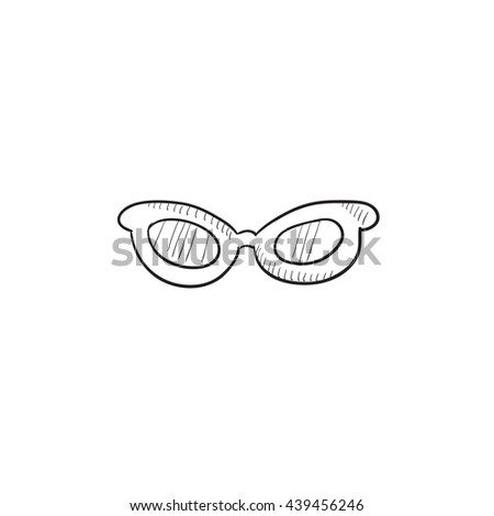 Eyeglasses vector sketch icon isolated on background. Hand drawn Eyeglasses icon. Eyeglasses sketch icon for infographic, website or app.