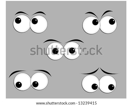 Eyes looking in different direction - stock vector