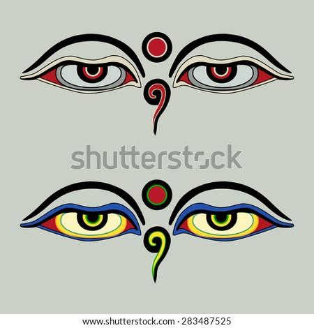 Eyes Buddha Buddhas Eyes Buddhist Eyes Stock Vector 283487525