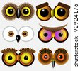 Eyes of owls.Vector set - stock vector
