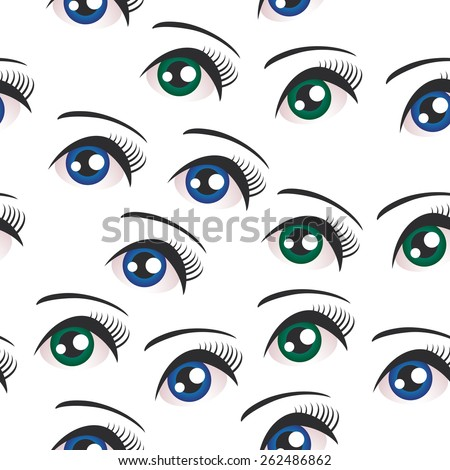 Eyes on white background seamless pattern. Vector - stock vector